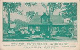 Vintage 1930-1935 - Richmond Danville Route 5 Highway - Robin's Nest - Inn  - Torn Corner See 2 Scans - Quebec
