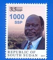 SOUTH SUDAN Unadopted Proof Overprint Stamp Jn Blue On 3.5 SSP Dr John Garang Südsudan Soudan Du Sud - Sud-Soudan