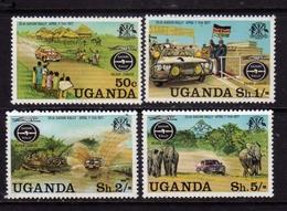 UGANDA 1977 SAFARI RALLY COMPLETE SET SERIE COMPLETA MNH - Uganda (1962-...)