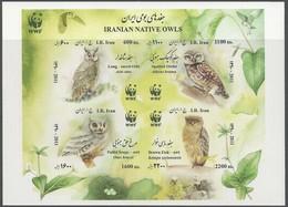2011 Iran WWF Owls Imperforated Minisheet (** / MNH / UMM) - W.W.F.