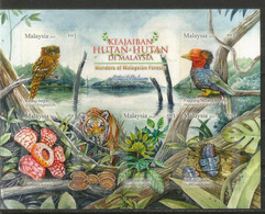Faune/flore Sauvage De La Jungle Malaisienne (Podarge étoilé,Calao,insecte Duliticola,Rafflésie) Bloc-feuillet Neuf ** - Malaysia (1964-...)