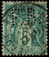 Sage N°75 Type Il O.(CAD) LYON Les Terreaux 22 Nov 1895.Perforé F. B. - 1876-1898 Sage (Type II)