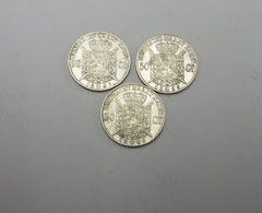 Superbe Lot Argent 3 Pièces De 50 Centimes Leopold 1886 1899 1886 Très Rare état - 1865-1909: Leopold II