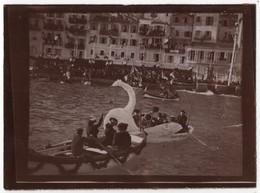 Photo Originale XIXème VILLEFRANCHE Sur Mer Bateaux Pavoisés Carnaval Fête Fleurs Corso - Photos