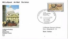 31547. Tarjeta FRANKFURT (Alemania Federal) 1984. Lufthansa ERSTFLUG. First Fligth AIRBUS - [7] República Federal