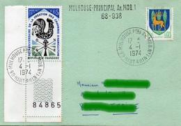 68 MULHOUSE Ppal  An.MOB. N°1 - 4-1-1974 Et 2-9-1983 - Création 6 Novembre 1965 - Marcophilie (Lettres)