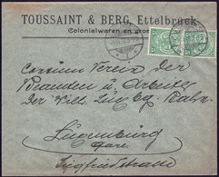 Lettre Commerciale: Toussaint & Berg, Colonialwaren En Gros, Ettelbruck 5.10.1912, Michel: 87  2Scans - 1907-24 Ecusson