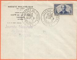 FRANCIA - France - 1942 - 2,50+7,50F La Perouse + Special Cancel Journée Du Timbre - Société Philatélique De L'Est - Tro - Storia Postale