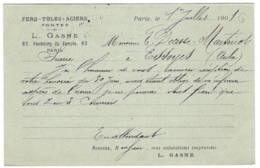Fers Toles Aciers GASNE  PARIS  1901  Adressé à ESSOYES - Ganzsachen