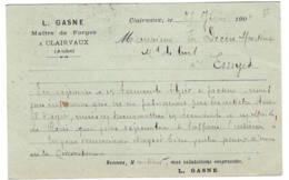 Maitre Des Forges à CLAIRVAUX   GASNE    1901  Adressé à ESSOYES - Biglietto Postale
