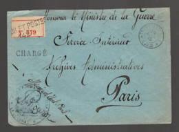 """Tresor Et Poste 142   Chargé  Franchise Manus """"officier état Civil""""  à """"archives Administratives"""" - Marcophilie (Lettres)"""