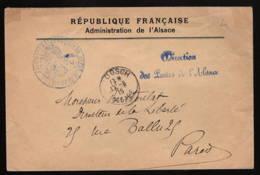 """Administration De L'Alsace: """"direction Des Postes De L'Alsace"""" + Cachet En Rapport,cad"""" Moosch Alsace"""" - Marcophilie (Lettres)"""