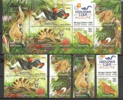 Faune De La Jungle Malaisienne (Nycticèbe,Atlas Plus Grand Papillon Du Monde,Gibbons,Calao Rhinocéros,etc) Série + BF ** - Malaysia (1964-...)