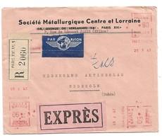 (C15) - EMA SECAP N4018 X3 - LETTRE RECOMMANDEE AVION EXPRES PARIS TRI N°16 => SUEDE 1961 - France