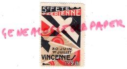94- VINCENNES- RARE TIMBRE VIGNETTE 5 E FETE AERIENNE AVIATION - 1928 - Erinnofilie