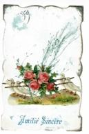 """Carte Fond Marbré, Collage Chromo """"Colombes Portant Une Litière De Roses"""" Et Brin D'herbes Séché, Circ, Timbre Décollé - Cartes Postales"""