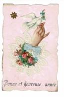 """Carte Fond Marbré, Collage Chromo """"Main, Colombe, Noeud Tissu Et Napperon Brodé En Papier, étoile Dorée"""" Circ 1907 - Thanksgiving"""