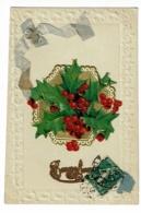 """Carte Frise Gauffrée, Collage Chromo """"Bouquet De Houx, Ruban Tissus"""" Bonne Année - Circulé 1913 - Thanksgiving"""