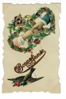 """Carte Bonne Année, Collage Chromo Cur Charnière """"deux Mains Unies Sur Un Tapis De Fleurs, Hirondelle - Circulé - Thanksgiving"""
