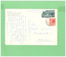 1957 VIAGGIATA X LA SVIZZERA AFFRANCATURA DI 2 DIV. FRANCOBOLLI - 1946-.. République