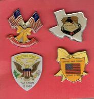 OPERATION TEMPETE DU DESERT 1991 DESERT STORM ETATS UNIS IRAK KOWEIT LOT DE 4 PINS PRO AMERICAINS - Badges & Ribbons