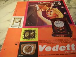 ANCIENNE PUBLICITE HORLOGE VEDETTE 1966 - Autres