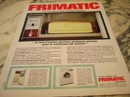 ANCIENNE PUBLICITE CONTROLE BEURRE  REFRIGERATEUR FRIMATIC 1966 - Publicité