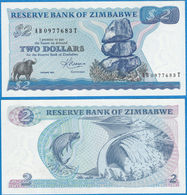 Zimbabwe 1983 2 Dollars P-1b GEM UNC FISH - Zimbabwe