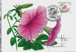Fleurs Buzin: CM Du N° 3722 A Obl. Estampuis 13/10/2007  Pétunia  Resigné Par A. Buzin - 1985-.. Oiseaux (Buzin)