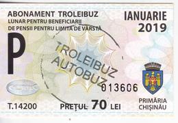 Moldova , Moldavie , Chisinau ,  Trolley  Bus  Ticket ,  Monthly Pass , Januarie ,  2018 , Used - Titres De Transport