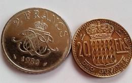 MONACO 2 PIECES  20 FRANCS 1951 Et 2 FRANCS 1982 (B7 -39) - Monaco