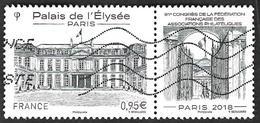 FRANCE   2018 -  YT 5221 - Palais De L'Elysee Avec Vignette Attenante  - Oblitéré - France