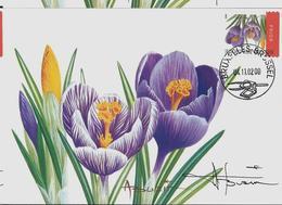 Fleurs Buzin: CM Du N° 3141  Obl. Bxl: 04/11/2002   Crocus Resigné Par A. Buzin - 1985-.. Oiseaux (Buzin)
