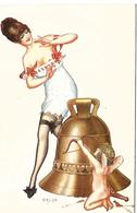 HEROUARD Illustrateur  En Embuscade   FEMME SEIN DENUDE  CLOCHE Et  ANGE   Rare - Altre Illustrazioni