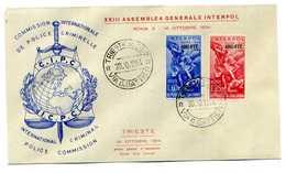 FDC AMG-FTT 1954 INTERPOL - Storia Postale