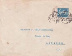 25ct Bleue Semeuse Camée 1922 Ajaccio Daguin Solo Antibes Monaco Type 1B - 1906-38 Sower - Cameo