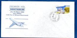 Enveloppe  / 1er Vol / Dassault Falcon 2000 / Mérignac / 4-3-93 - FDC