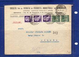 ##(DAN192)- 1945-Busta Espresso Da Genova Per Milano Tariffa L.3,50 Valori Imperiale Con Fasci E Monumenti Distrutti - Storia Postale