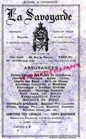 75- PARIS- RARE BUVARD ASSURANCES MUTUELLES LA SAVOYARDE -39 RUE DE MOSCOU- IMPRIMERIE PASCAL COURBEVOIE - Banque & Assurance