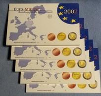 GERMANIA 2002 - 5 ZECCHE - A D F G J - DIVISIONALE FDC / FS  - N.° 8 Pezzi In Euro X 5 - Confezioni Originali (16 Foto) - Germania