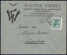 Lettre: Wagner Frères Transports Internationaux, Esch-s.-Alzette, 20.2.1924, Michel: 128 - Luxembourg