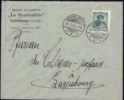Lettre: Société Le Syndicaliste Schifflange, Cachet: Schifflange 21.2.1924, Michel: 128 - Luxembourg