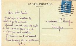 25ct Bleue Semeuse Camée Carte Angers Jardin Plantes Oblitérée Dans Une Enveloppe à Trou - 1906-38 Säerin, Untergrund Glatt