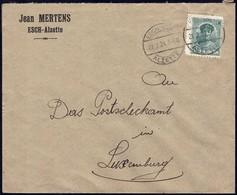 Lettre: Jean Mertens Esch-Alzette, Cachet: Esch-Alzette 21.2.1924, Michel: 128 - Luxembourg