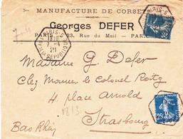 25ct Bleue Semeuse Camée 1921 Type 1 Et 4 Levée 19h10 Paris 5 1 Avenue De La République - 1906-38 Semeuse Camée