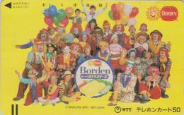 Télécarte Ancienne Japon / 110-011 - CIRQUE - CLOWN & Ballon - CIRCUS Balloon JAPAN Front Bar Phonecard - 91 - Games