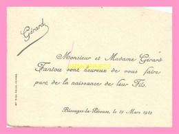 FAIRE PART DE NAISSANCE  Du Fils De Mr Et Mme  FANTOU  De  BAZOUGES LA PEROUSSE LE 29 Mars 1929 - Birth & Baptism