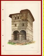 M3-37092 Albania 1956. Traditional Folk Art And Technique. Architecture. Genuine Lithograph Poster 35x26 Cm - Vecchi Documenti