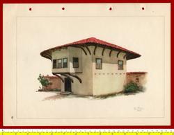 M3-37094 Albania 1956. Traditional Folk Art And Technique. Architecture. Genuine Lithograph Poster 35x26 Cm - Vecchi Documenti