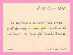 FAIRE PART DE NAISSANCE+ Enveloppe  Du Fils Du Docteur Et Mme Paul LEVOT  De BREST  Le 28 Mars 1929 - Naissance & Baptême
